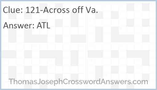 121-Across off Va. Answer