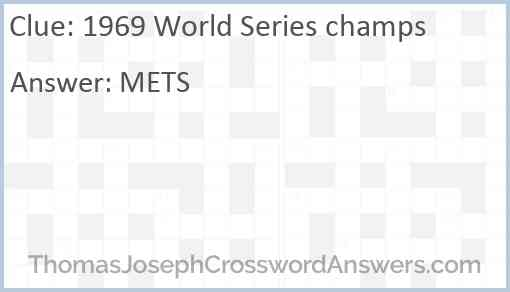1969 World Series champs Answer