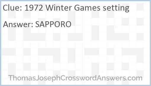 1972 Winter Games setting Answer