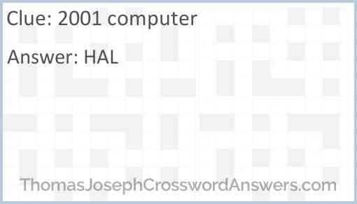 """2001"" computer Answer"