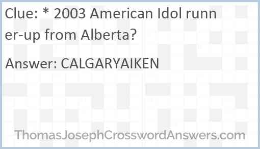 * 2003 American Idol runner-up from Alberta? Answer
