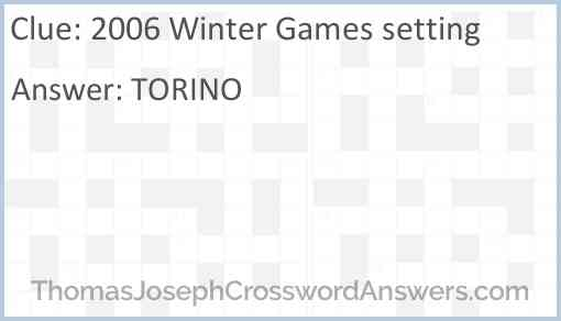 2006 Winter Games setting Answer