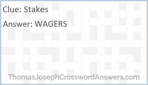 Stakes Crossword Clue Thomasjosephcrosswordanswers Com