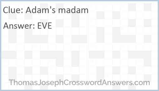 Adam's madam Answer