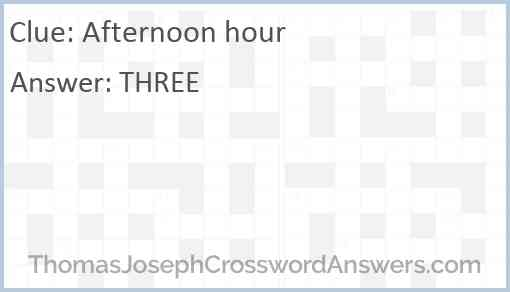 Afternoon hour Answer