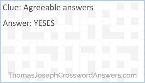 Agreeable answers Answer