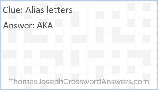 Alias letters Answer
