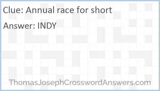 Annual race for short Answer
