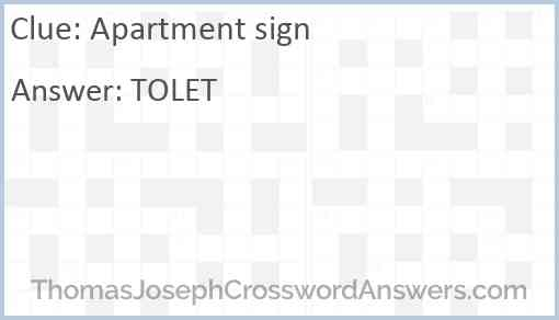 Apartment sign Answer