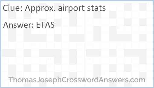 Approx. airport stats Answer
