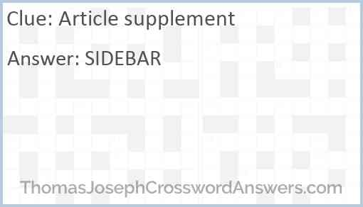 Article supplement Answer