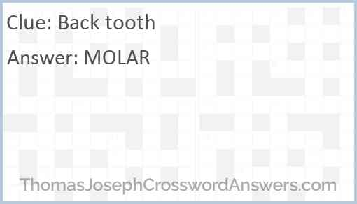 Back tooth Answer