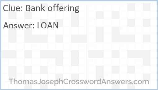 Bank offering Answer