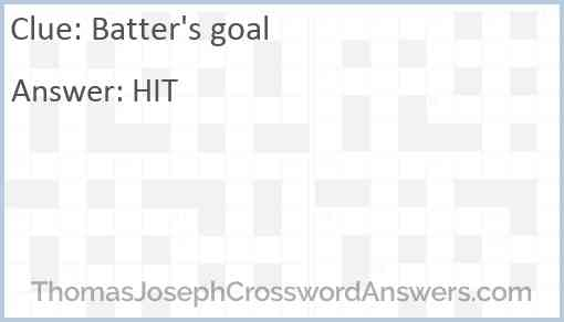 Batter's goal Answer