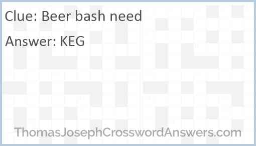 Beer bash need Answer
