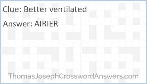 Better ventilated Answer