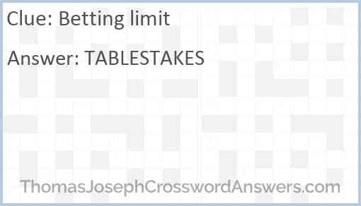 Betting limits crossword clue bet on the grandnational