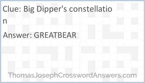 Big Dipper's constellation Answer