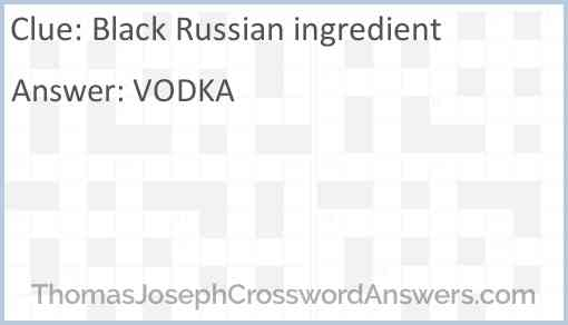 Black Russian ingredient Answer