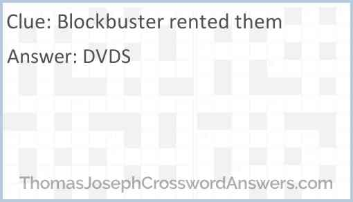 Blockbuster rented them Answer