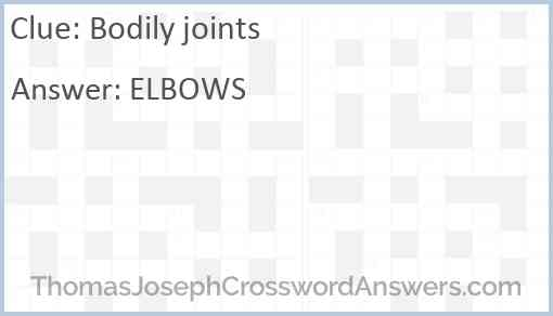 Bodily joints Answer