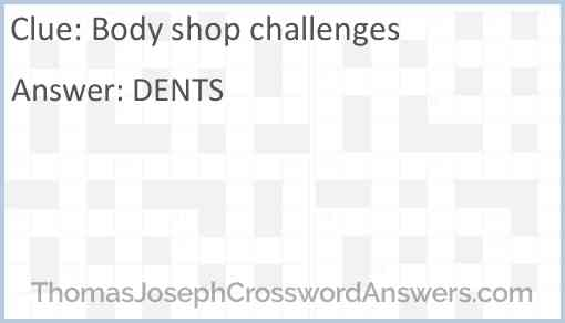 Body shop challenges Answer