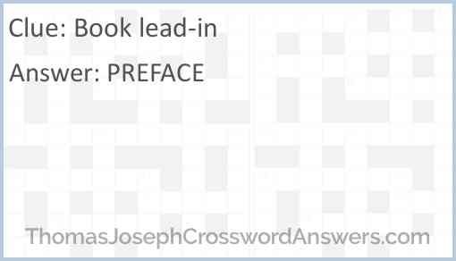 Book lead-in Answer