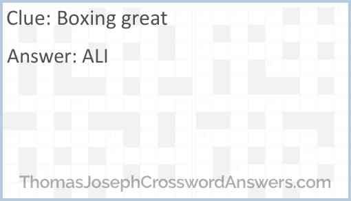 Boxing great Answer
