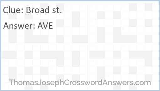 Broad st. Answer