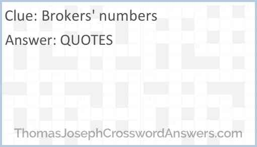 Brokers' numbers Answer