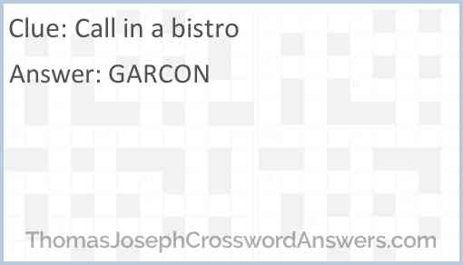 Call in a bistro Answer