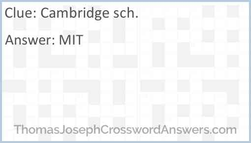 Cambridge sch. Answer