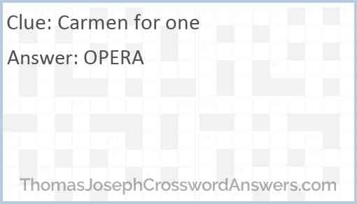 """""""Carmen"""" for one Answer"""