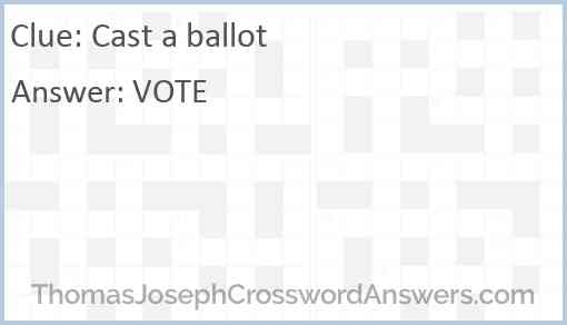 Cast a ballot Answer