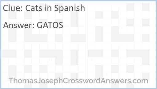 Cats in Spanish Answer