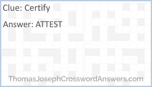 Certify Answer