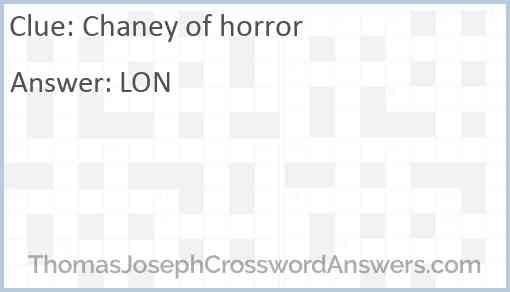 Chaney of horror Answer