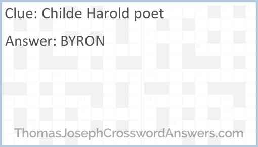Childe Harold poet Answer