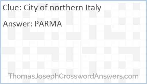 City of northern Italy Answer