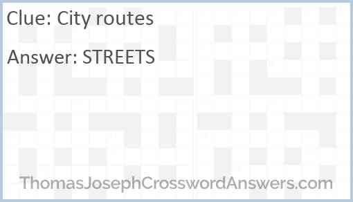 City routes Answer
