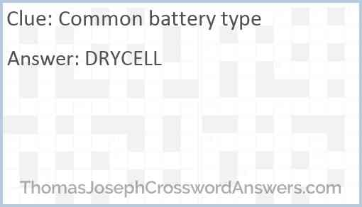 Common battery type Answer
