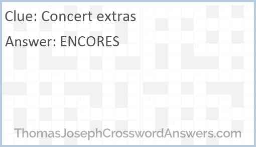 Concert extras Answer