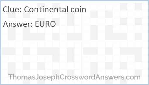 Continental coin Answer
