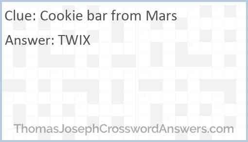 Cookie bar from Mars Answer