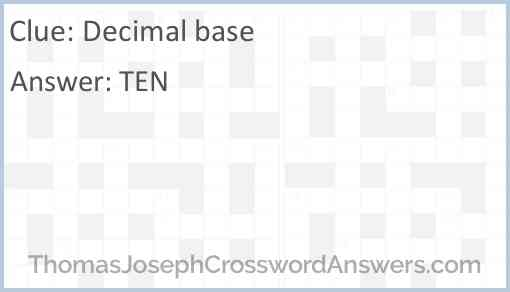 Decimal base Answer