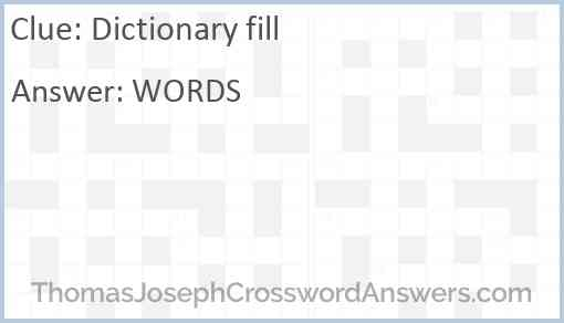 Dictionary fill Answer
