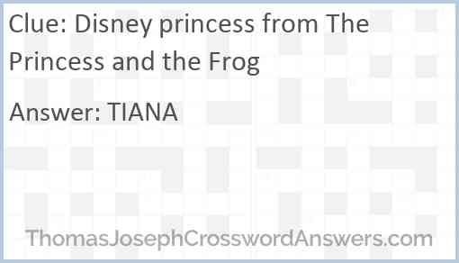 Disney princess from The Princess and the Frog Answer