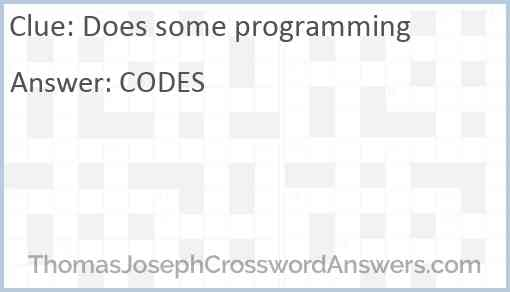 Does some programming Answer