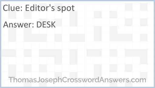 Editor's spot Answer
