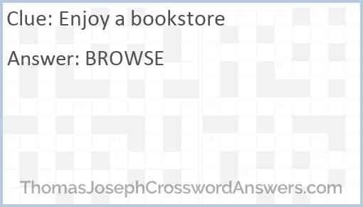 Enjoy a bookstore Answer